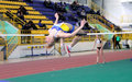 Mohnuk Anastasia competes in high jump Stock Photography