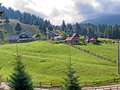 Moieciu view of the village from bucegi mountain Royalty Free Stock Photo
