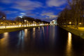 Moika river night view of the embankment about mikhailovsky park in st petersburg russia Royalty Free Stock Images