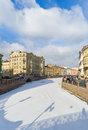 Moika river st petersburg russia frozen in Stock Photos
