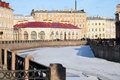 Moika river view of the and the old round market a monument of architecture of xviii century in st petersburg russia Stock Photo