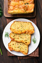 Moist bread with zucchini cheese eggs top view carrot Stock Photos