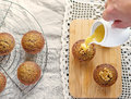 Moist date muffins with homemade toffee caramel dates and Stock Photo