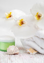 Moisturizing cream with  orchids and towel Stock Images