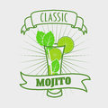 Mojito classic cocktail. Vector illustration of fresh and salty drink.