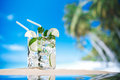 Mojito cocktail on beach sand and tropical seascape Royalty Free Stock Photo