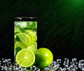 Mojito cocktail with fresh limes on a black background Royalty Free Stock Photos