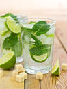 Mojito cocktail in the glass close up Royalty Free Stock Photos