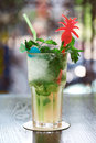 Mojito cocktail in glass with straw Royalty Free Stock Photo