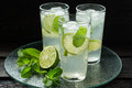 Mojito cocktail in a highball with rum lime mint and soda glass on metal tray Royalty Free Stock Photos