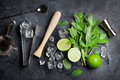 Mojito cocktail making Royalty Free Stock Photo