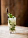 Mojito cocktail a in a rustic restaurant on a table Stock Images