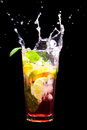Mojito cocktail splash black Royalty Free Stock Images
