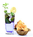 Mojito drink with danish pasteries Royalty Free Stock Photo