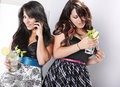 Mojito duo on the phone! Royalty Free Stock Photography