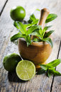 Mojito ingredients on rustic wooden table Stock Photos