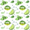 Mojito - seamless pattern. White Background with green elements - mint, lime, bulbs and lip print painted with green lipstick - a Royalty Free Stock Photo