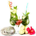 Mojito summer set with apple lime and strawberry classic on a white background Stock Photos