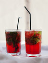 Mojito two glasses of strawberry drinks Royalty Free Stock Photo