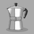 Moka coffee maker illustration of a typical italian Royalty Free Stock Photo