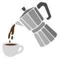 Moka pot and cup of coffee