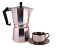 Moka pot cup freshly brewed espresso coffee against white background Royalty Free Stock Photography