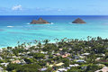 Mokulua islands off the shore of lanikai beach oahu hawaii Stock Image