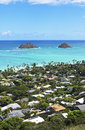 Mokulua islands off the shore of lanikai beach oahu hawaii Stock Images