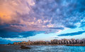 Mola di bari panoramic view cloudy landscape over south of italy Stock Photos