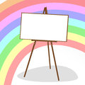 Molbert and rainbow wooden easel with white sheet of paper for artist on background of Stock Photo