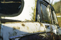 Mold on car abandoned in mould outdoor closeup shot focused center of image Stock Image