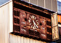 Moldy soccer scoreboard close up of outdoor view sport Stock Photos