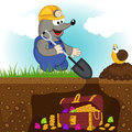 Mole digs treasure vector illustration eps Stock Images