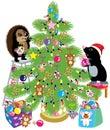 mole and hedgehog decorating a christmas tree