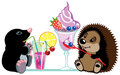 Mole and hedgehog eating desserts cartoon sweet isolated image for little kids Stock Photography