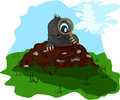Mole with a magnifying glass on molehill small and the meadow Royalty Free Stock Photography