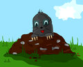 Mole on molehill a small with glass the meadow Royalty Free Stock Image