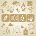 Molecular biology science card grunge golden brown with icons Royalty Free Stock Photos