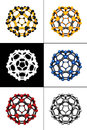 Molecular spheres set of five Royalty Free Stock Photos