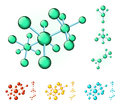 Molecular structures of different colors Stock Image