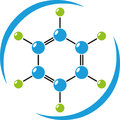 Molecule in color, chemistry, science and laboratory logo
