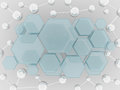 Molecule and hexagon glass science background