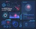 Molecule hologram and futuristic hud elements
