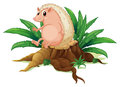 A molehog sitting on the stump with leaves illustration of white background Stock Photos