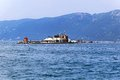 Molo foraneo trieste lighthouse and restaurant at breakwater in port Royalty Free Stock Images