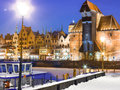 Moltawa river and the crane gdansk poland winter night scenery old town of danzig europe with motlawa polish zuraw symbol of Royalty Free Stock Photos