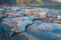 Molten cooled lava landscape Royalty Free Stock Photo