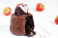 Molten lava cake with strawberry Royalty Free Stock Image