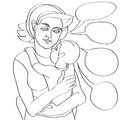 Mom and baby comics mother child composition doodle illustration over white Stock Photos