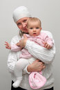 Mom with baby daughter portrait of happy Royalty Free Stock Photography